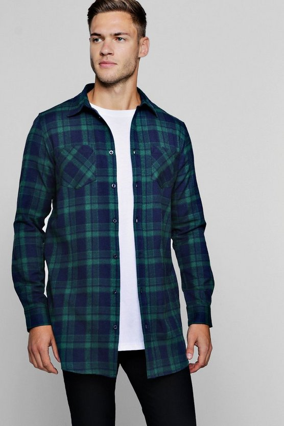 Long Sleeve Navy And Green Check Longline Shirt