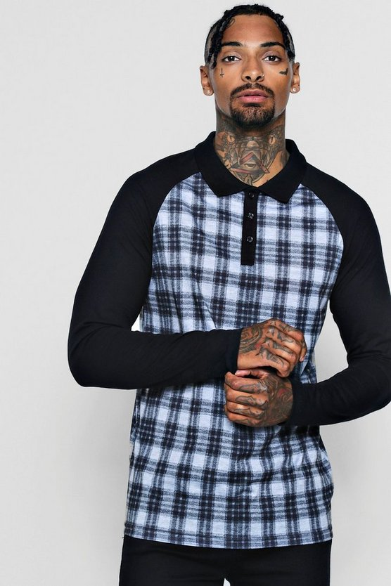 Long Sleeve Check Print Polo With Raglan Sleeves