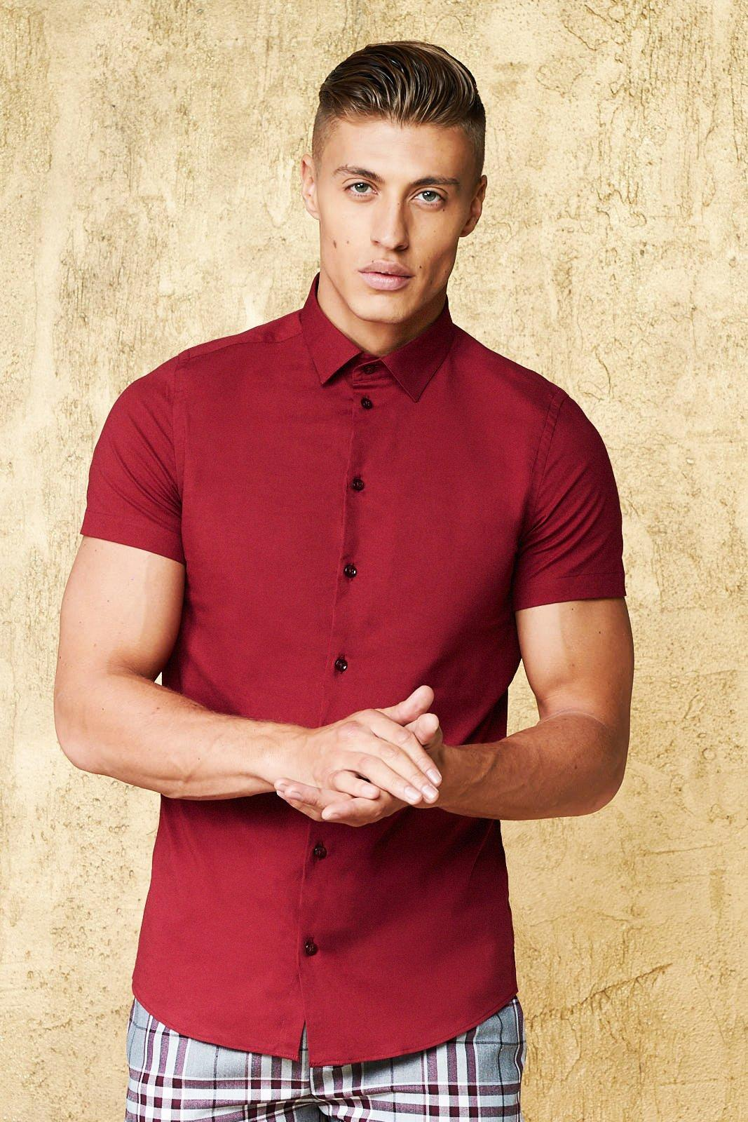 Short Sleeve Cotton Shirt In Muscle Fit