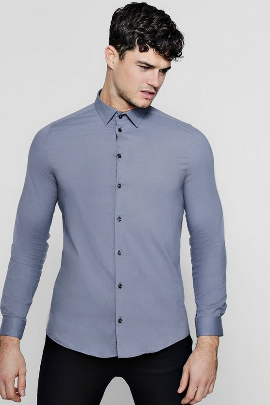 Long Sleeve Cotton Shirt In Muscle Fit