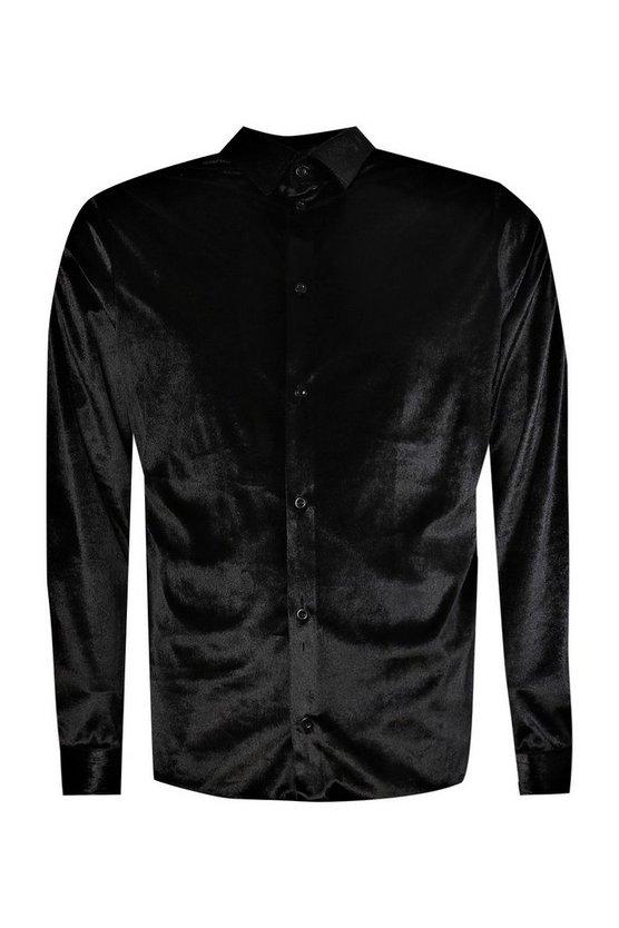 Long Sleeve Velour Shirt by Boohoo Man