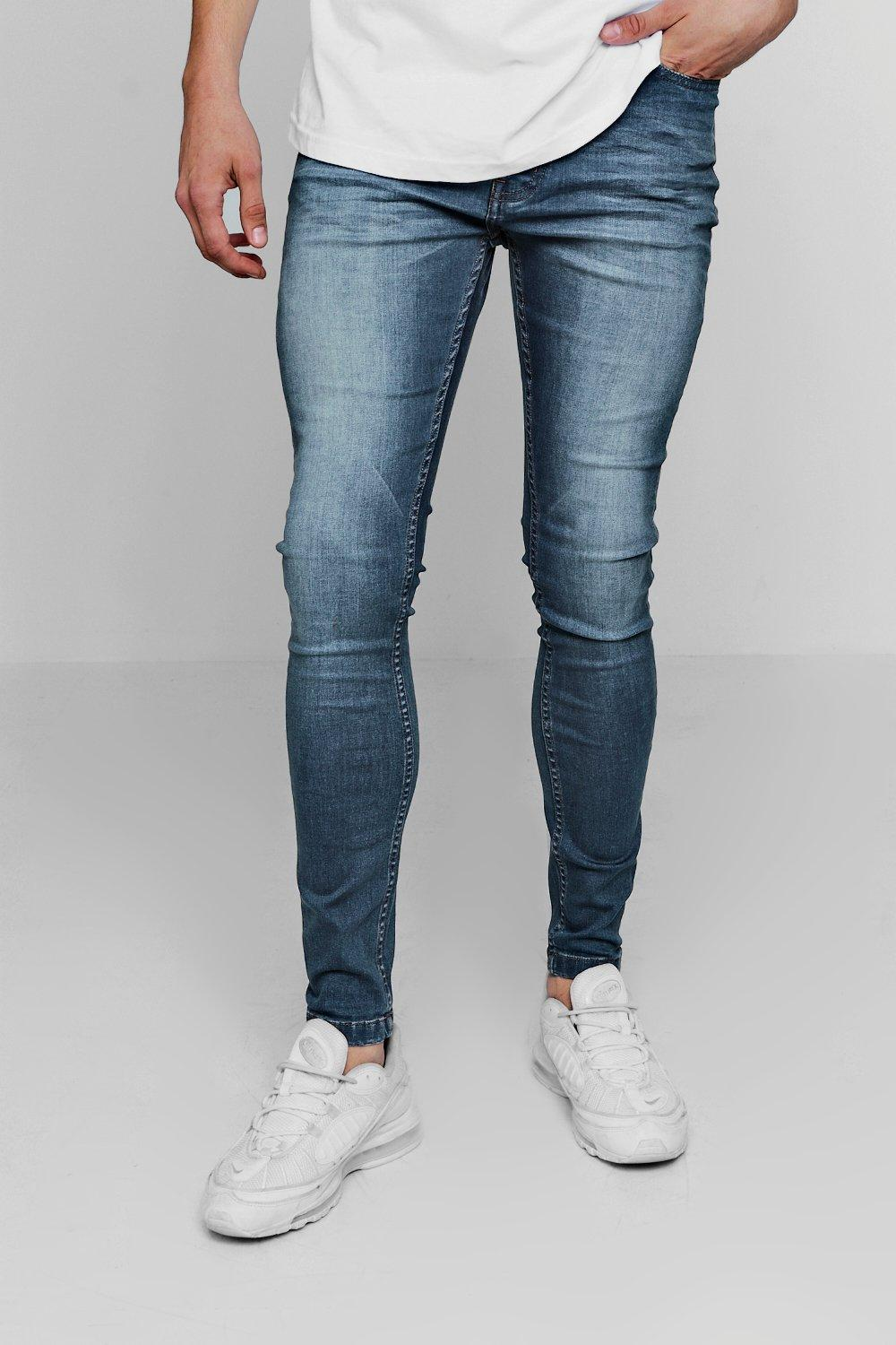 Super Skinny Denim Jeans In Mid Blue
