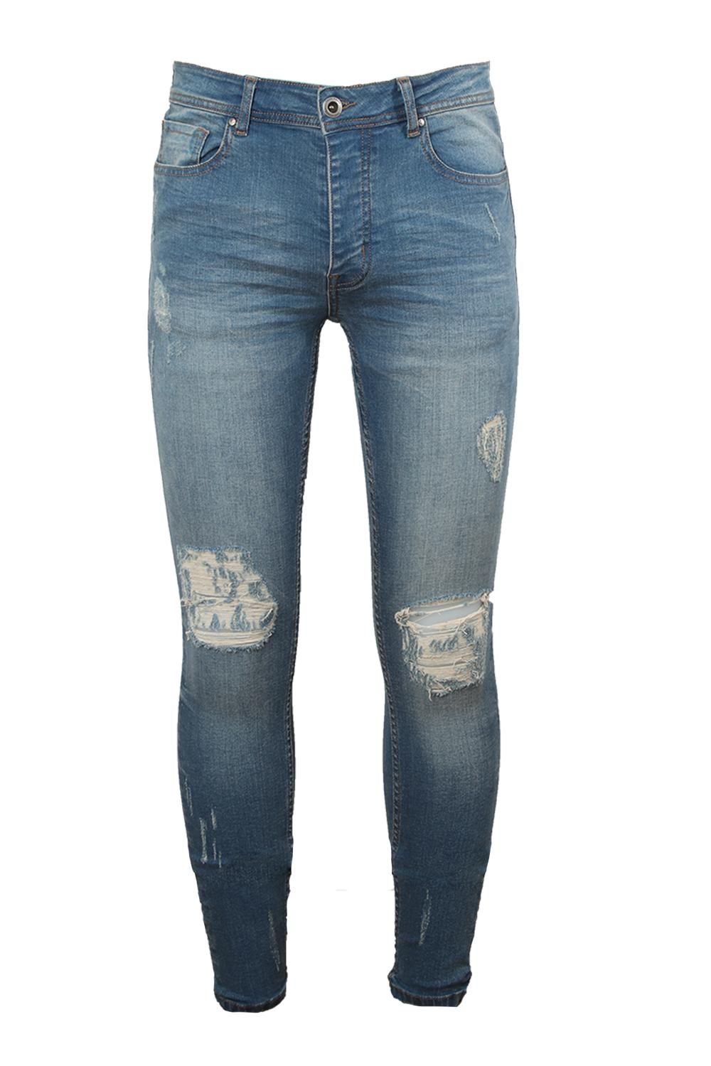 Super Skinny blue Ripped Knee Denim mid Jeans wBWawqdRr