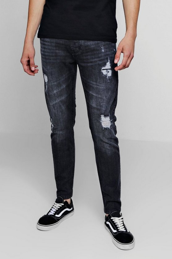 Skinny Fit Jeans With Rip And Repair Detail