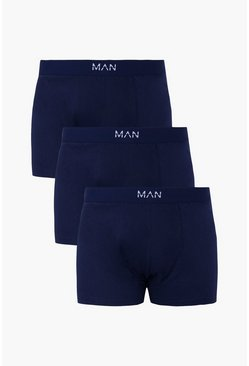 "Big And Tall Boxershorts aus Jersey mit ""MAN""-Logo, 3er-Pack, Marineblau, Herren"