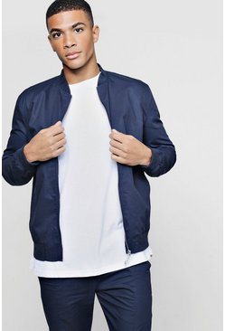 Mens Navy Cotton Twill Smart Bomber