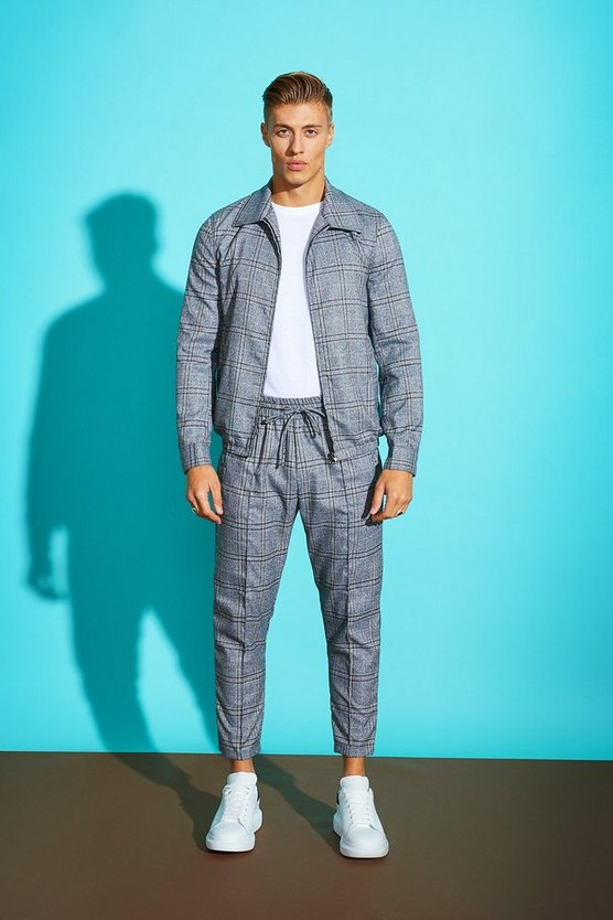 Check Harrington Woven Jogger Set
