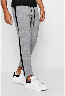 Mens Grey Check Smart Jogger With Tape Detail