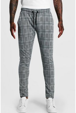 Mens Grey Check Skinny Fit Jogger