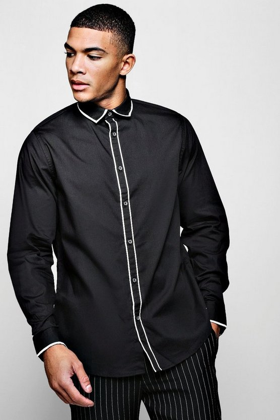 Slim Fit Smart Long Sleeve With Placket Piping