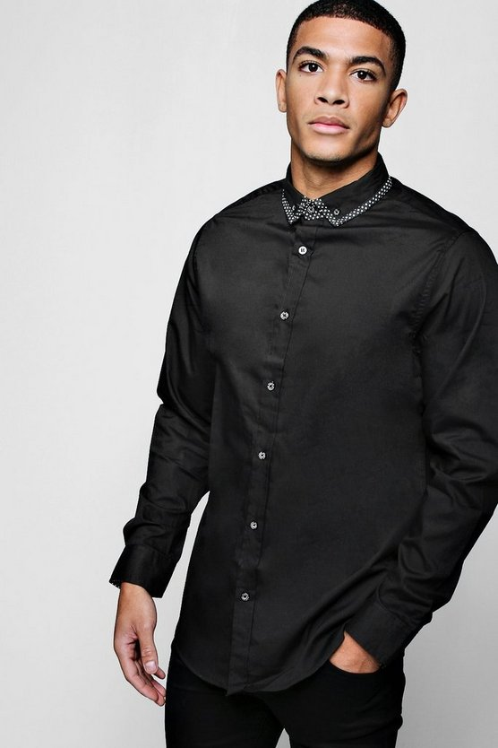 Slim Fit Smart Long Sleeve Shirt With Tipped Collar