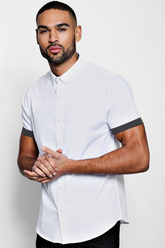 Slim Fit Smart Short Sleeve Shirt With Turn Up