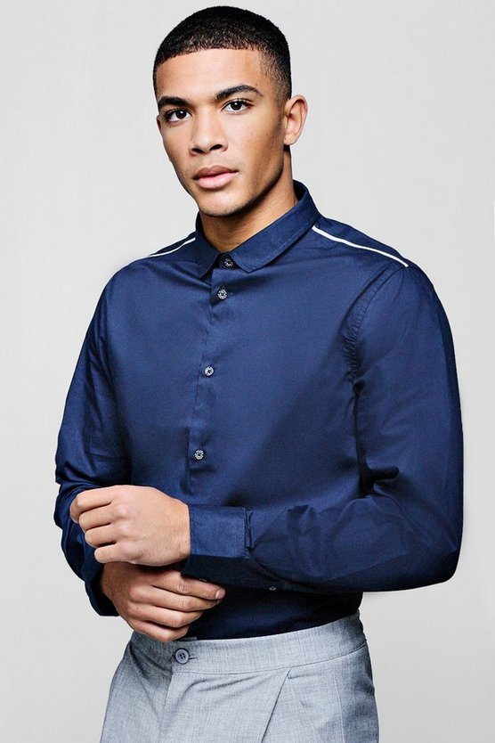 Slim Fit Smart Long Sleeve Shirt With Piping