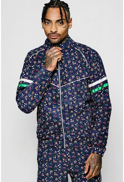 Mens Navy Ditsy Floral Needle Cord Zip Jacket
