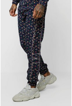 Mens Navy Ditsy Floral Needlecord Smart Jogger