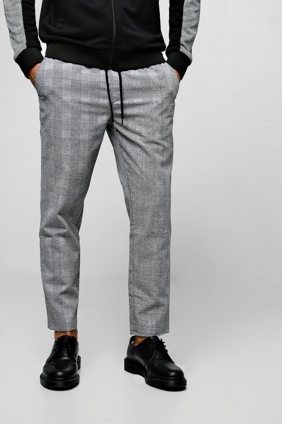 Mens Black Prince Of Wales Check Jogger Style Trouser