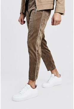 Mens Toupe Cord Jogger Style Pants With Side Panel