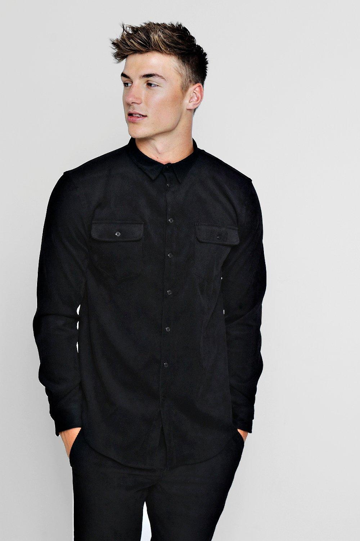 black Long Sleeve Shirt Double Cord Pocket TFT1Aqw4af