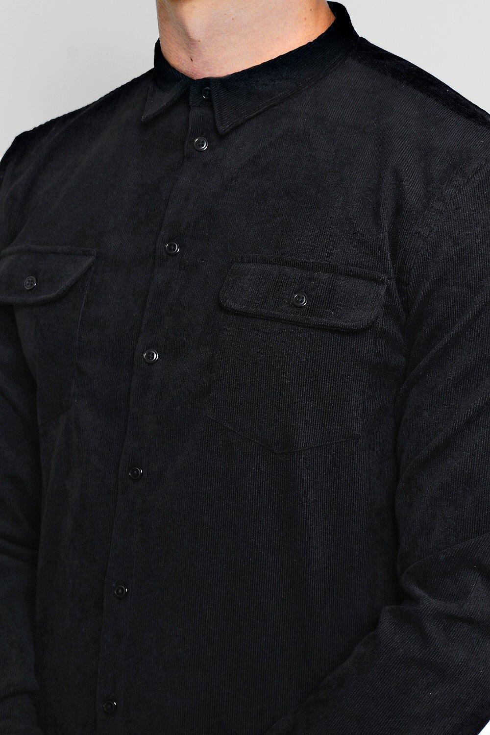 black Shirt Double Pocket Long Sleeve Cord IqwxanOzX