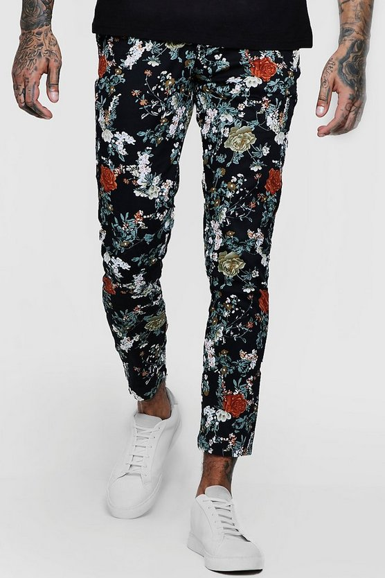 Mens Black Floral Print Tapered Chino