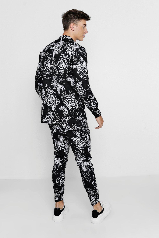 Print Rose black Long Monochrome Shirt Sleeve PUXTdnq