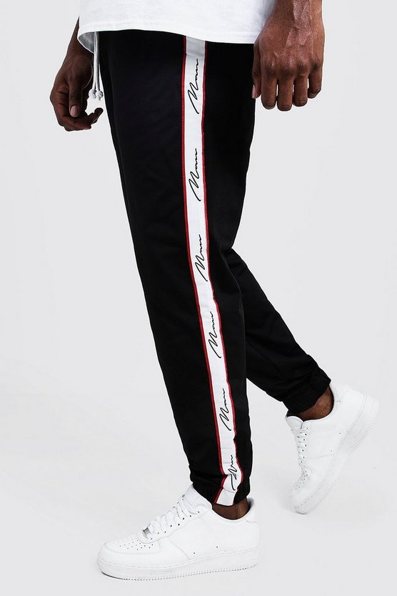 Mens Black Big And Tall Skinny Fit MAN Tape Joggers