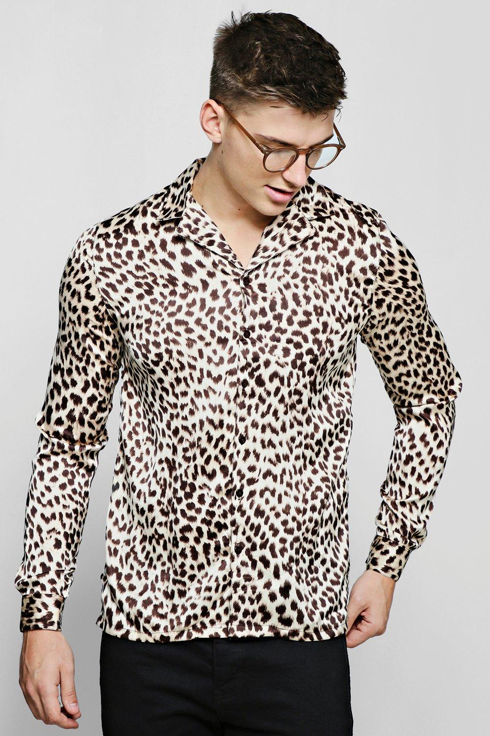 Long Sleeve Leopard Print Revere Satin Shirt
