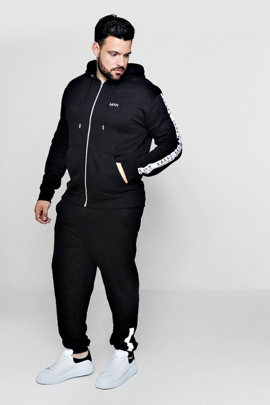 Big And Tall MAN Embroidered Tracksuit With Tape