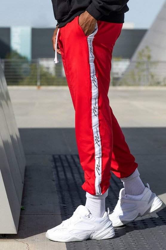 Red Big And Tall Skinny Fit MAN Tape Joggers