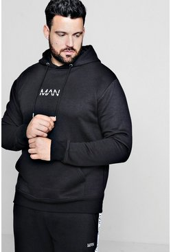 Mens Black Big and Tall MAN Dash Hoodie