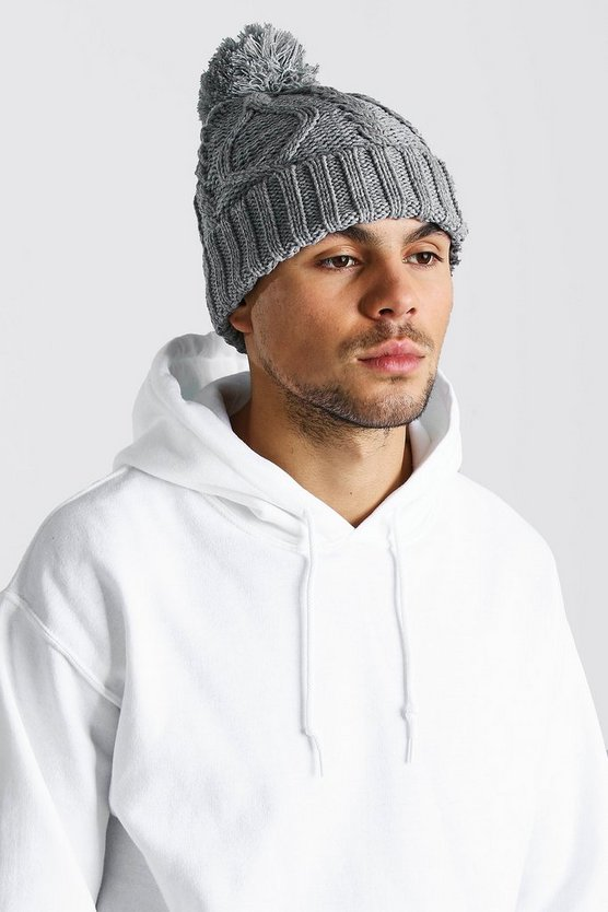 Cable Knit Bobble Beanie, Light grey, Uomo