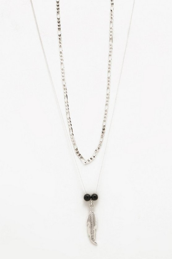 Feather And Chain Double Necklace