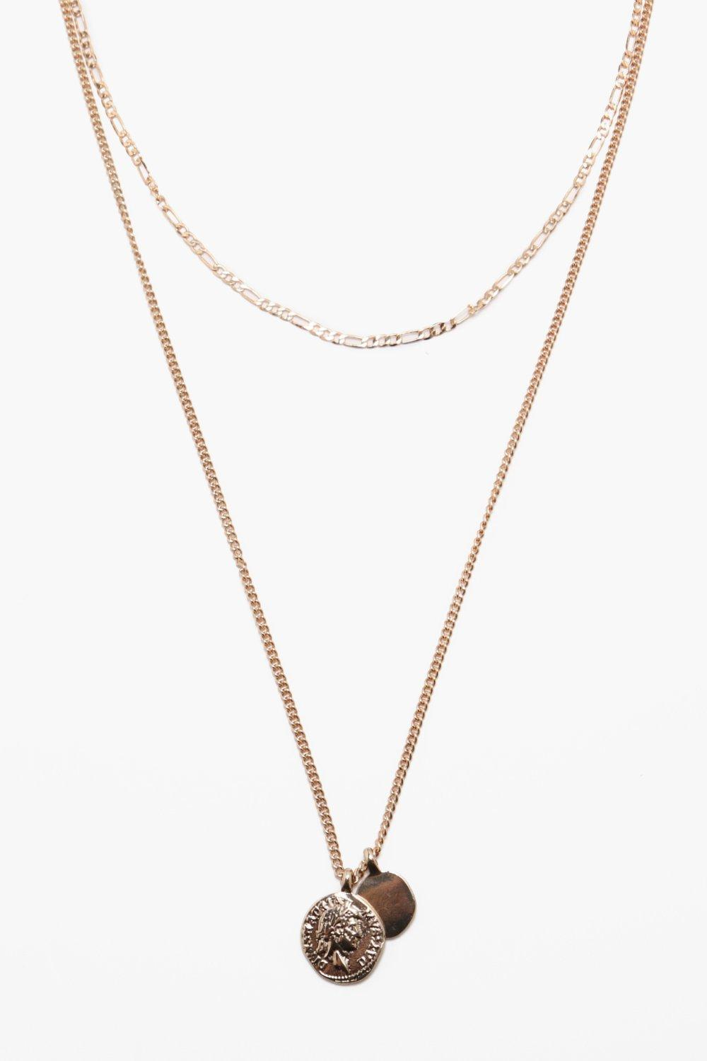 Coin And Chain Double Layer Necklace
