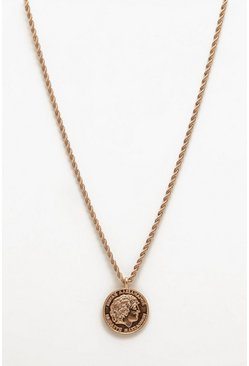 Classic Coin Necklace, Gold, Uomo