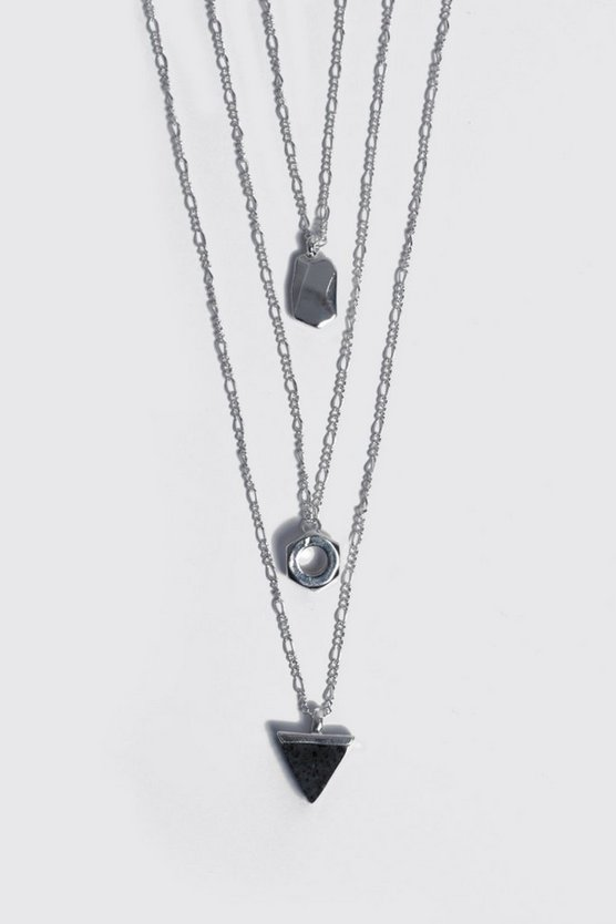 Mens Silver Tripe Pendant Multi Layer Necklace
