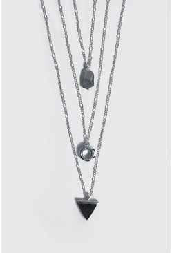 Tripe Pendant Multi Layer Necklace, Silver, Uomo