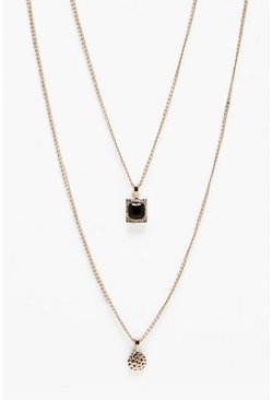 Double Pendant Layer Necklace, Gold, Uomo