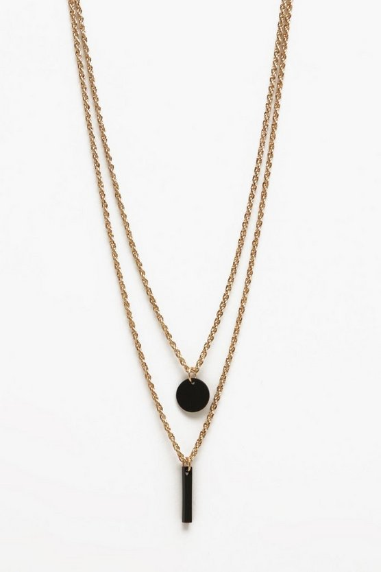 Disc Pendant Double Layer Necklace