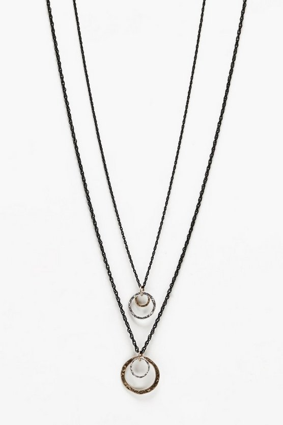 Double Disc Pendant Necklace