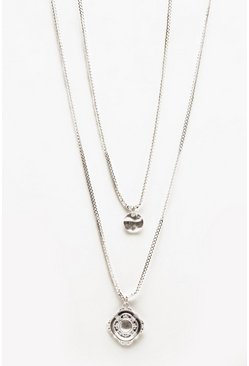 Herr Silver Double Layer Pendant Necklace