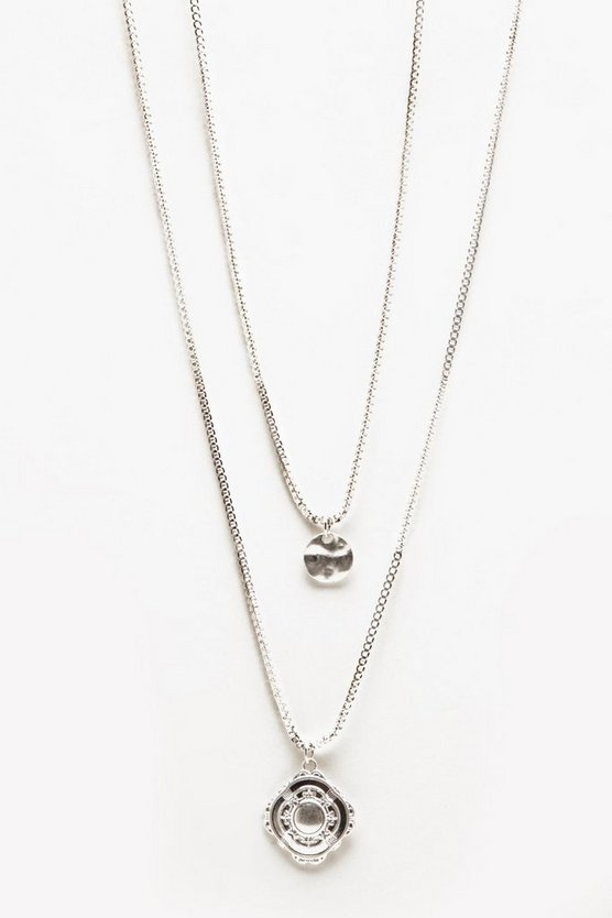 Mens Silver Double Layer Pendant Necklace