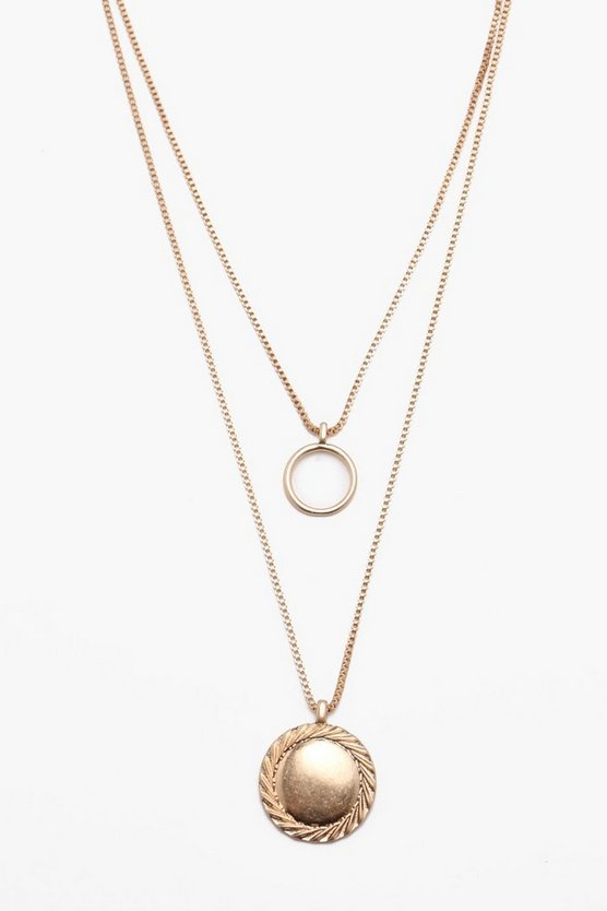 Gold Circular Double Layer Pendant Necklace