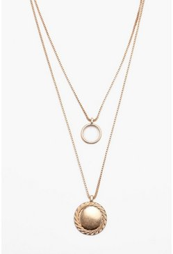 Mens Gold Circular Double Layer Pendant Necklace