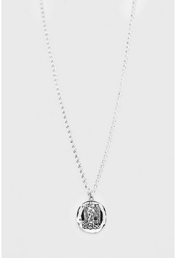 Mens Silver Coin Pendant Necklace