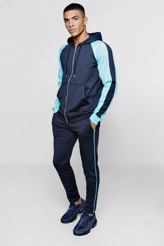 Colour Block Raglan Skinny Fit Tracksuit
