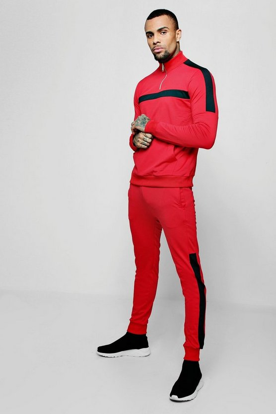 Funnel Neck Tricot Colour Block Tracksuit