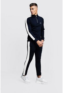 Navy Funnel Neck Contrast Panel MAN Tracksuit