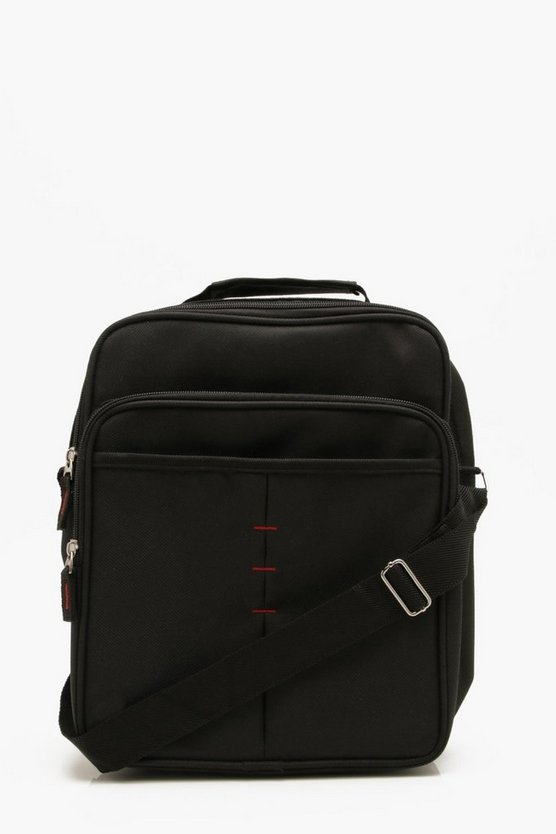 Mens Black Oversized Stitch Detail Cross Body Flight Bag