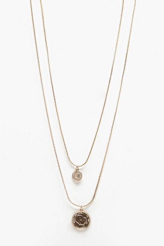 Double Coin Layer Necklace
