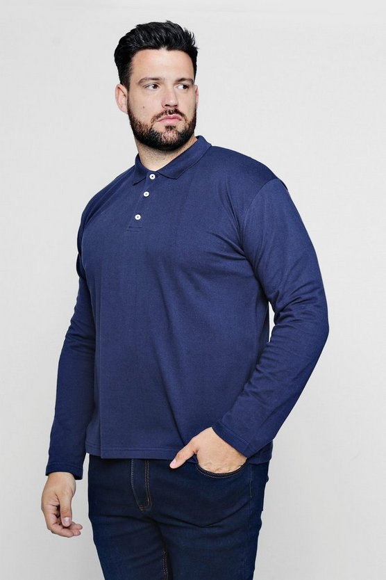 Mens Navy Big And Tall Long Sleeve Polo